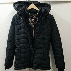 Jacket blk hooded full zip